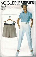 9635 Vintage Vogue Elements Sewing Pattern Misses Very Easy Shorts Pants XS - M