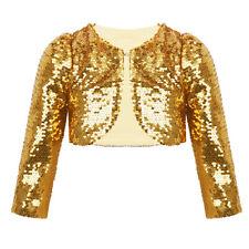 Girls Shiny Bolero Long Sleeve Flower Girl Party Cardigan Shrug Cropped Blazer