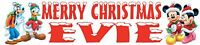 Personalised Christmas Banner - Mickey & Minnie Mouse, Donald Duck & Goofy