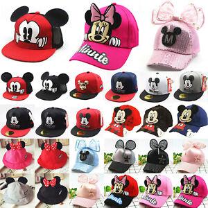 Kids Boys Girls Disney Mickey Minnie Mouse Snapback Casual Mini Cap Hat Baseball