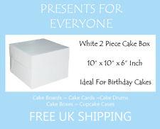 "2 x 10"" x 10"" x 6"" Inch White Cake Box Birthdays Weddings"