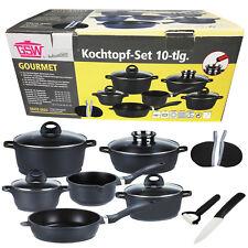 GSW Kochtopf Set 10-tlg INDUKTION Keramik Messer Schäler Pfanne Töpfe Bratpfanne