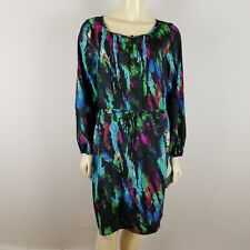 Charlie Jade polyester draw string tunic colorful long sleeved dress sz M