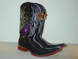 Los Altos Men's 3X Toe Stingray Print Cowboy Western Boots - Size 8 1/2 EE - NEW