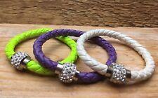 Trio Of Braided Leather Effect Bracelets/Diamante Ball/Neon/Purple/White