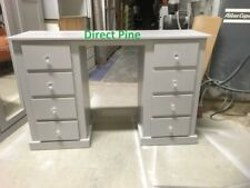 AYLESBURY 8 DRAWER DOUBLE DRESSING TABLE GREY WITH CHRYSTAL HANDLES