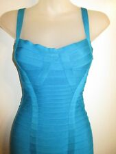 Herve Leger XS Judith Signature MIDI Bandage Dress Bright Turquoise AUTHENTIC