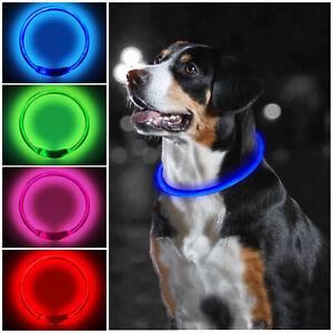 PetTec USB Rechargeable LED Dog Pet Collar Flashing Size Adjustable Safety Light