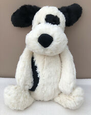 NEW Jellycat Medium Bashful Patch Puppy Dog Baby Toy Black White Cream BNWOT