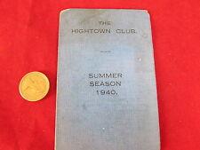 LIVERPOOL  Hightown Cricket Club  1940  WWII  Original  FIXTURE Card