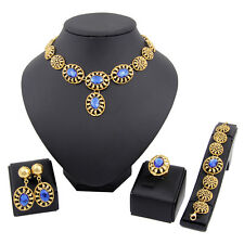 Gold Plated Wedding Jewelry Sets Zircon Pendant Necklace blue  Earrings Set