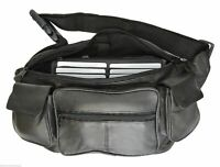 Black Premium Leather Fanny Pack Large Waist Bag Travel Phone Organizer Sac Bag