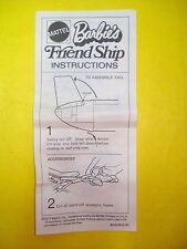 Vtg Barbie 70s Doll PLAYSET Parts FRIENDSHIP Instruction Manual 1973 8639
