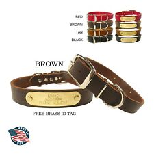 "WARNER CUMBERLAND LEATHER DOG COLLAR >BROWN< 1"" X 23"" FREE ENGRAVED BRASS ID TAG"