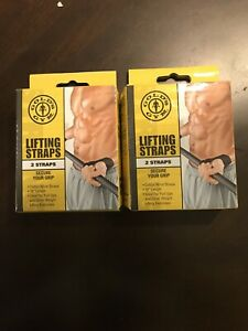 Lot Of 2 4-Straps Gold's Gym Lifting Straps Secure Grip Weightlifting  FREE SHIP