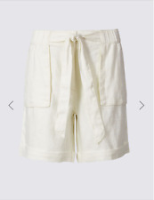 M & S Per Una Cream Pure Leinen Krawatte Taille Shorts