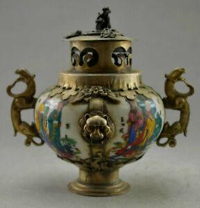 Collectible Old Decorated Handwork Porcelain & Tibet Silver Belle Incense Burner