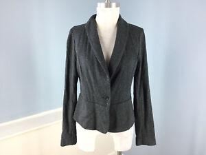 Banana Republic L 12 Charcoal gray black Blazer jacket Career peplum wool cute