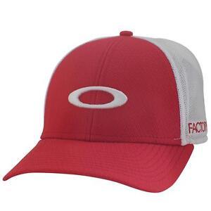 Oakley Factory Lite Golf Cap Crimson Red White Mesh Vented Players Baseball Hat