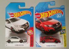 Hot Wheels '16 Honda Civic Type R Lot of 2 Red White