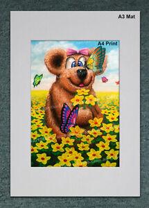 A4 Girl TEDDY BEAR Kids Toy Nursery Gift CANVAS DECOR ART PRINT - Australia Made