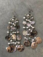 Shell Beaded Dangle Drop Silver Earrings