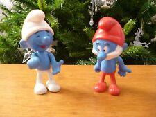 ☺ Deux Figurines Schtroumpfs Peyo 1983 Hauteur 10 Cm