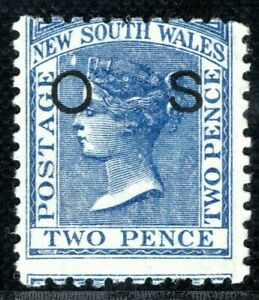 Australia States NSW QV OFFICIAL Stamp SG.O21c 2d Blue (1884) Mint LMM YELLOW304