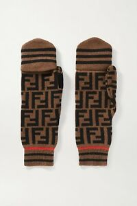 FENDI Intarsia cashmere and wool-blend mittens gloves, Brown, New, Auth, Ori$390
