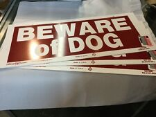 "3 Set BEWARE OF DOG 6"" x 14"" Sturdy Vinyl Warning Sign Hillman 2predrilled holes"