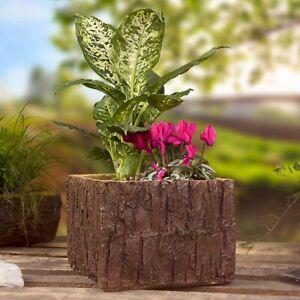 Blumentopf Pflanzkübel Blumenkübel Blumenkasten Holz Optik Polyresin 25x24x18 cm