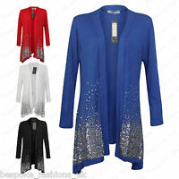 Women's Ladies Viscose Sequin Waterfall Drape Open Cardigan Top Plus Size 14-28