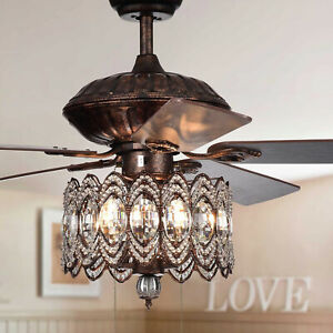 Rustic Bronze Finish Chandelier Ceiling Fan with Crystal Shade 52in - Pull Chain