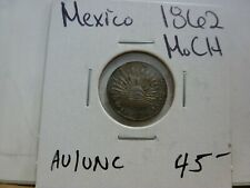 1862 Mexico 1/2 Real Mo CH Silver