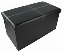 LARGE DOUBLE FOLDING STORAGE OTTOMAN CHEST SEAT STOOL BOX REST POUFFE 2 SEATER