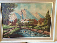 """Nice Original Dube 'Church By River Scene"""" Oil Painting - Signed And Framed"""