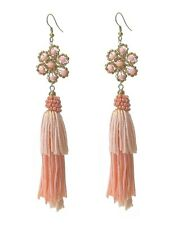 Tassel Earrings Silky Pink Flower Coral Beads Dangle Quality FAST SHIP USA