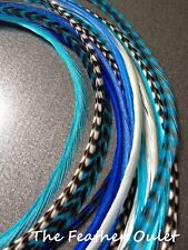 Lot 10 Grizzly Feathers Hair Extensions long skinny Aqua Turquoise BLUES