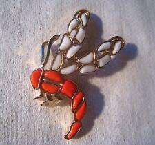 "1966 Crown TRIFARI "" MODERN MOSAICS "" Poured Glass Dragonfly Pin"