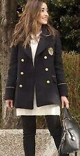 Zara Azul Marino Lana Cruzado Abrigo Chaqueta Militar botones de oro Nuevo tamaño S