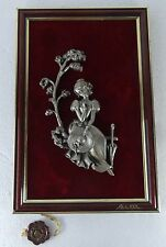 VINTAGE LES ETAINS DU PRINCE signed BACHES WOMAN FRAMED FIGURINE