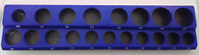"1/2"" Drive 18pc Magnetic Metric Socket Holder 7 Deep 11 Shallow 1 Adapter"