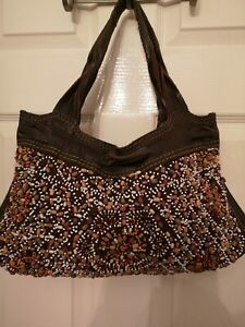'Lucky Brand' Brown Leather Beaded Bag