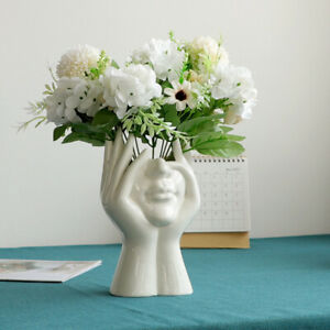 2021 Ceramic Human Head Face Flower Vase Art Creative Sculpture Plant Flower Pot