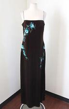 Brown Velvet Blue Floral Sequin Beaded Evening Dress Formal Size 14 JS Boutique