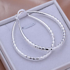 925 Silver Plated Egg Shape Hoop Earrings Women Fashion Jewelry *UK Seller