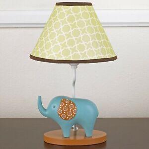 CoCaLo IN THE JUNGLE Lamp Base & Shade Boy's Nursery Decor Blue Elephant NEW