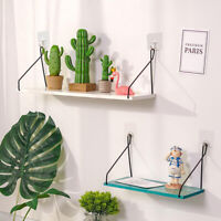 Floating Wall Shelf Storage Shelves Wooden & Iron Home Office Decor