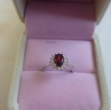 Certifed 1CT Natural red garnent in solid silver Ring adjustable size