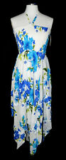ISLAND STYLE Blue White Hawaiian Floral Multi-Length Summer Dress Medium